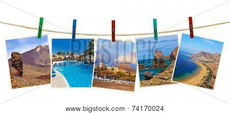 Tenerife island (Canary) photography on clothespins isolated on white background
