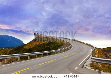 Fantastic bridge through fjord on the Atlantic road in Norway - travel background poster