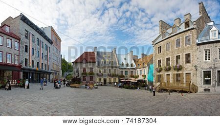 QUEBEC CITY, CANADA - AUGUST 22:A panoramic photostitch of the historic district Old Quebec, a UNESCO world heritage site August 22, 2014 in Quebec City, Canada.
