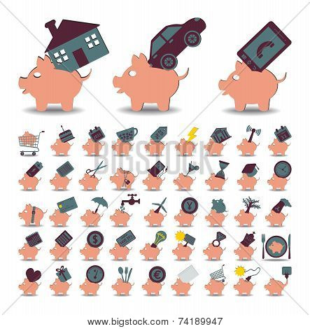 Set 48 Icons Piggy Bank And Savings