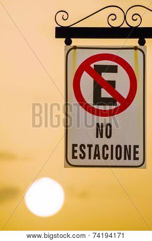 Road Sign Parking Forbidden, Spanish