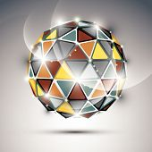 Abstract 3D vivid gala sphere with gemstone effect, gold and metal twinkle orb created from triangles, eps10. poster