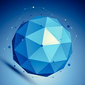 Blue 3D modern perspective abstract background, origami facet spherical structure with wire network. poster