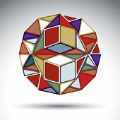 Abstract dimensional sphere with kaleidoscope effect. Stylish orb constructed from colorful geometric figures - squares triangles and rhombs. poster