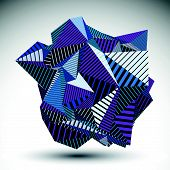 Decorative complicated unusual eps8 figure constructed from triangles with parallel black lines. Purple striped multifaceted asymmetric contrast element, colorful illustration for technology projects. poster