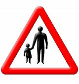 Children with parents crossing traffic sign isolated over white background poster