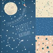 A set of Seamless constellations backgrounds, stars and night sky. Love you to the moon elements with a spaceship and a heart written in stars.  poster