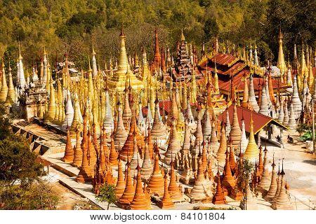 Shwe Inn Thein pagoda at Indein village Inle Lake Myanmar poster