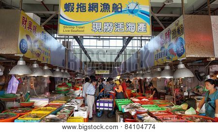 Shoppers Visit The Famous Seafood Market In Donggang, Taiwan