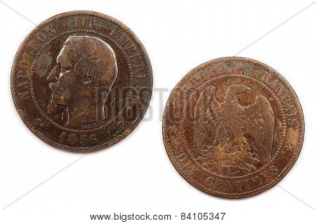 Ten Centimes coin from France dated 1856