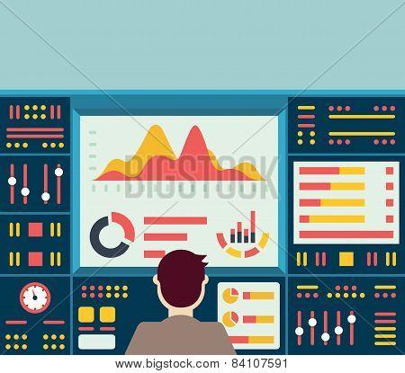 Vector Illustration Of Web Analytics Information On Dashboard And Development Website Statistic
