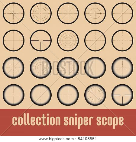 Vector collection of sniper scopes