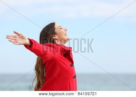 Fashion Woman Breathing Deep Fresh Air In Winter