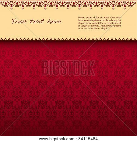 Red classical background with banner