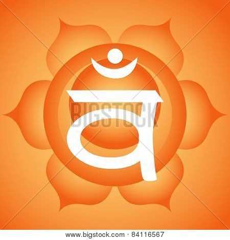 Traditional Indian Swadhistana orange sacral chakra symbol poster