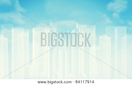 White wire-frame buildings. Bly sky with clouds as backdrop poster
