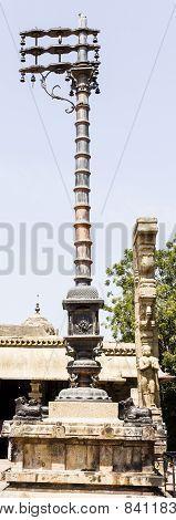 Magnificent flag inside the Brahadeewarar Hindu temple, Thanjavur, India ~ An UNESCO heritage site
