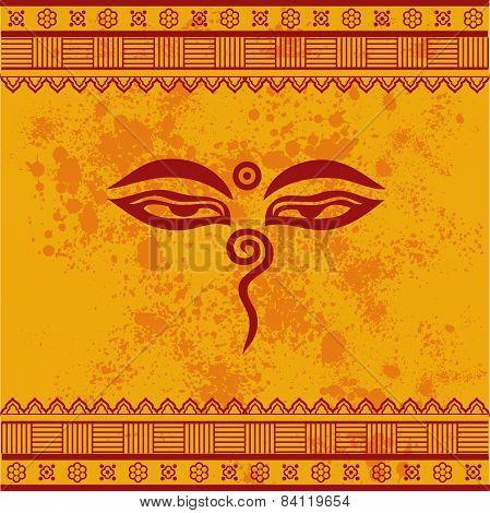 Yellow Buddhist henna background