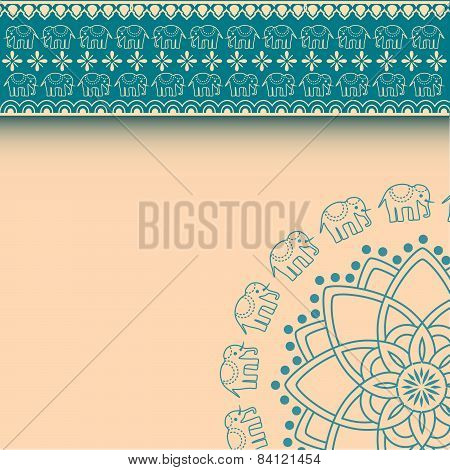 Blue Indian henna design elephant mandala background