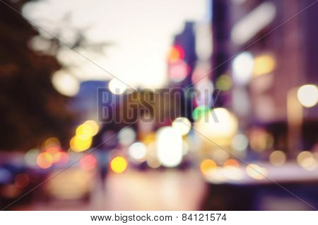 City Lights Blurred Bokeh Background