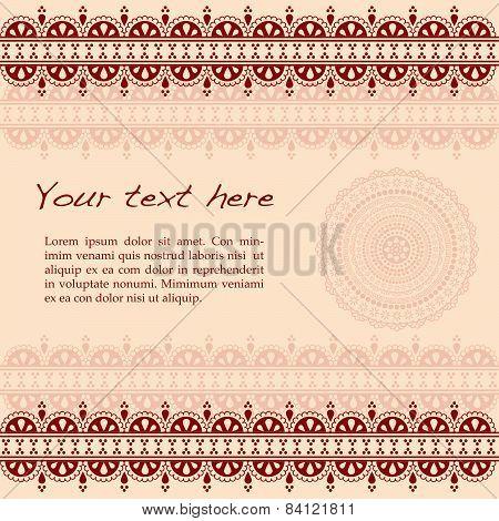 Burgundy Indian henna design background with mandala