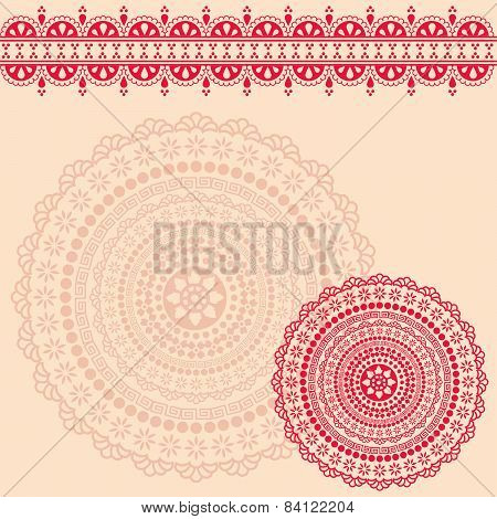 Pink henna mandala background design