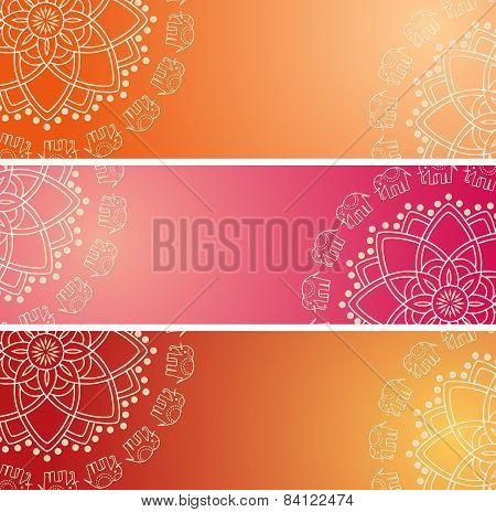 Colorful Indian elephant mandala horizontal banners