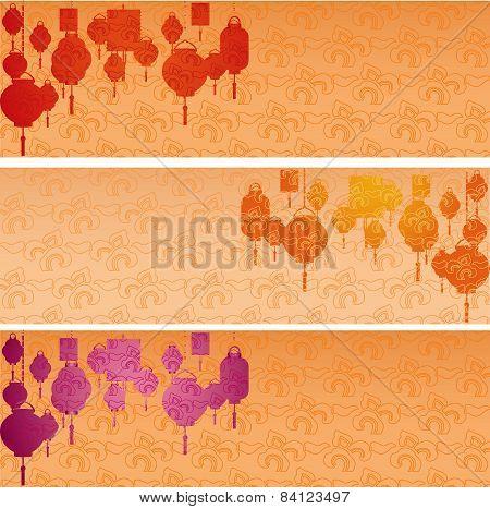 Chinese New Year hanging lanterns horizontal banners