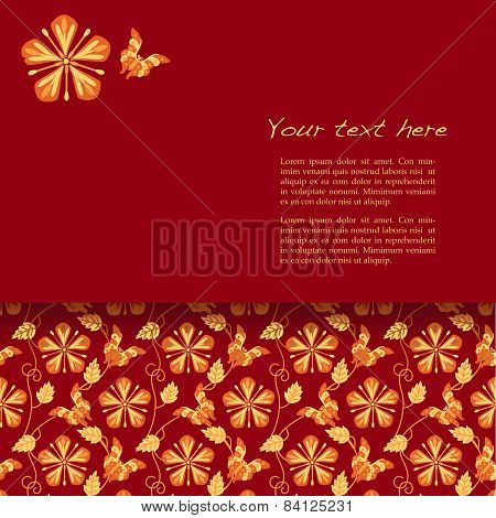 Flower and butterfly kimono pattern red card design