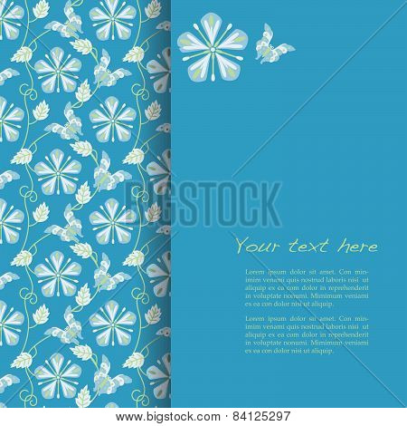 Flower and butterfly kimono pattern blue card design