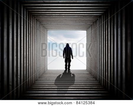 Man On The Edge Of The Tunnel