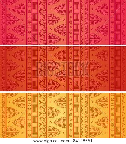 Set of colorful Indian henna horizontal banners