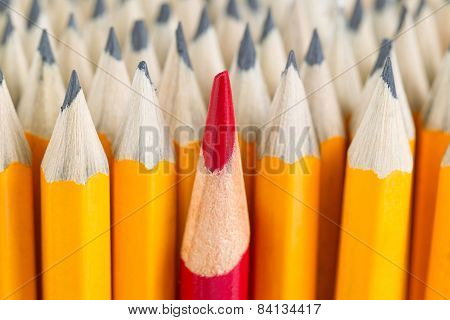 Red Pencil Tip In Stack Of Regular Pencil Tips