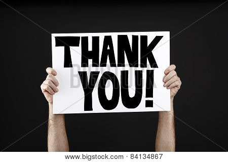 Man Holding Poster With Thank You