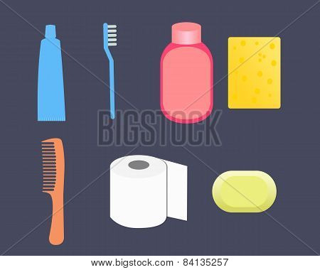 Set toiletries. Toothpaste, shampoo, washcloth, comb, toilet paper, soap. Vector illustration