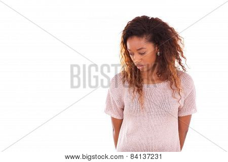 Portrait Of A Thoughtful Young African American Woman - Black People