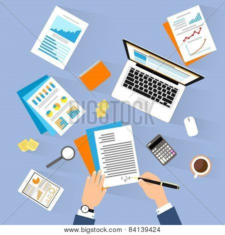 Business man document signing up contract agreement, Businessman laptop workplace top angle above vi