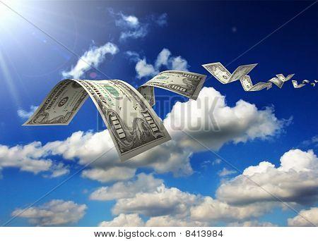 Dollar Bills Fly In Flocks