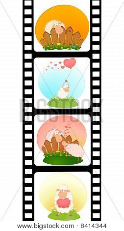 Set of blank film colorful strips with sheep poster