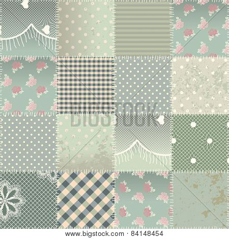 Seamless background pattern. Will tile endlessly. The  patchwork quilt in shabby chic style with grunge elements. poster