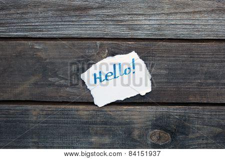 Hello Hand Written On Paper Piece