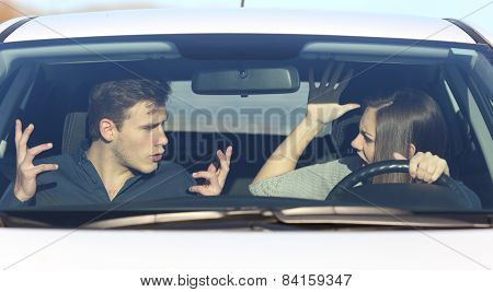 Couple Arguing While She Is Driving A Car