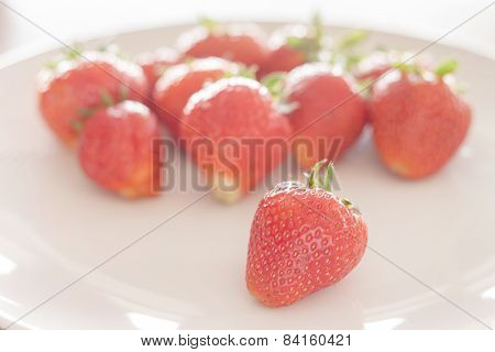Fresh Strawberries On White Plate