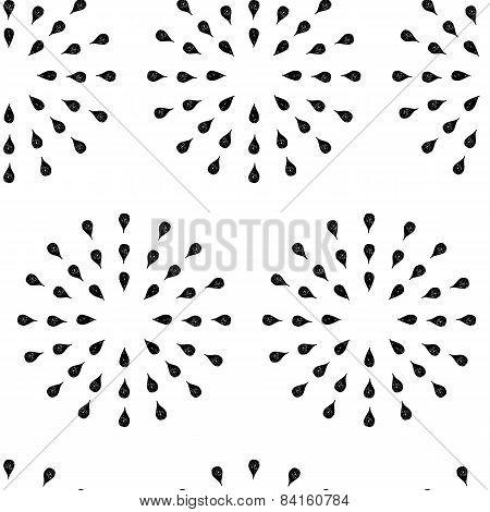 Sunburst background, ink hand drawn pattern