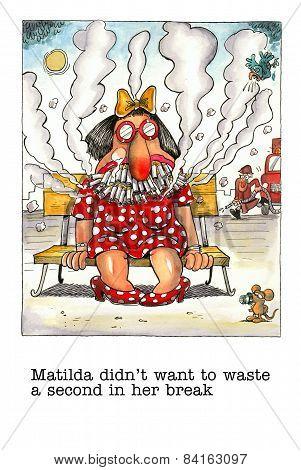 Cartoon gag about female smoker