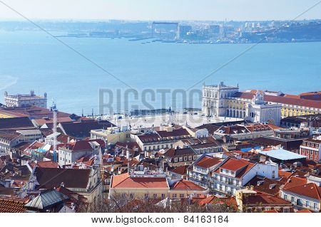 Commerce Square of Lisbon aerial view