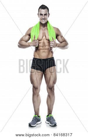 Strong Athletic Man Fitness Model Torso showing six pack abs. holding towel isolated over white background poster