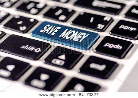 Save Money For Investment Concept With A  Button On Computer Keyboard