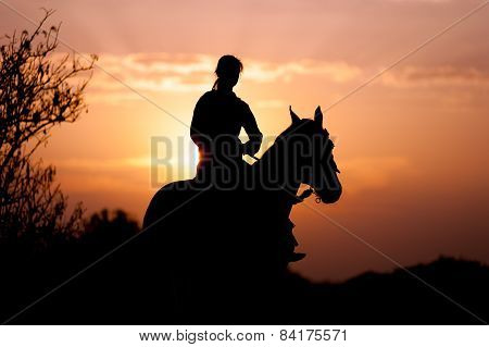 Silhouette of a girl riding a horse rider on the background of the rising sun poster