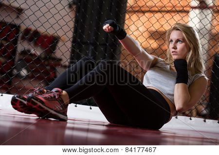 Athletic Woman Doing Crunches